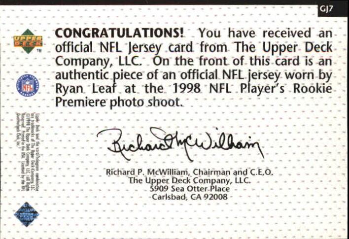 1998 Upper Deck Game Jerseys #GJ7 Ryan Leaf back image