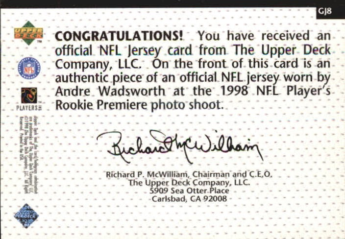 1998 Upper Deck Game Jerseys #GJ8 Andre Wadsworth back image