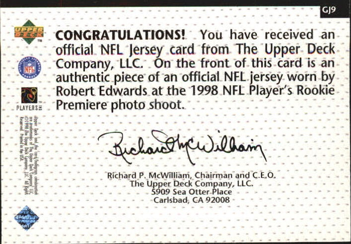 1998 Upper Deck Game Jerseys #GJ9 Robert Edwards back image