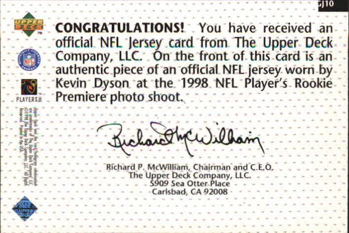 1998 Upper Deck Game Jerseys #GJ10 Kevin Dyson back image
