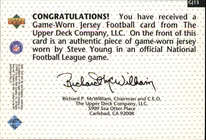 1998 Upper Deck Game Jerseys #GJ13 Steve Young back image
