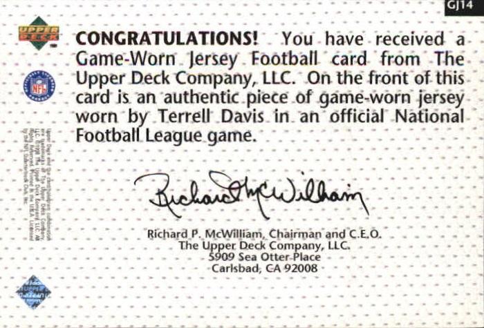 1998 Upper Deck Game Jerseys #GJ14 Terrell Davis back image