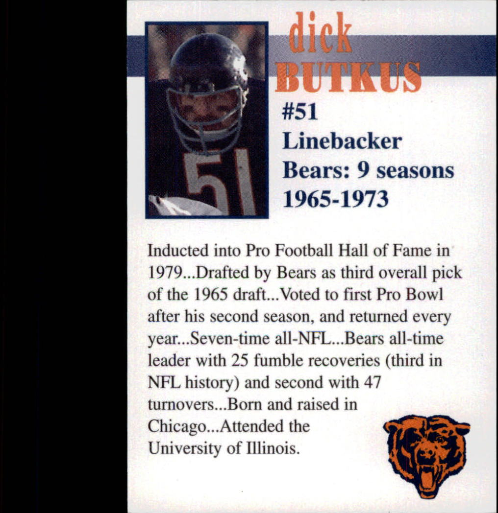 1998 Bears Fan Convention #7 Dick Butkus back image