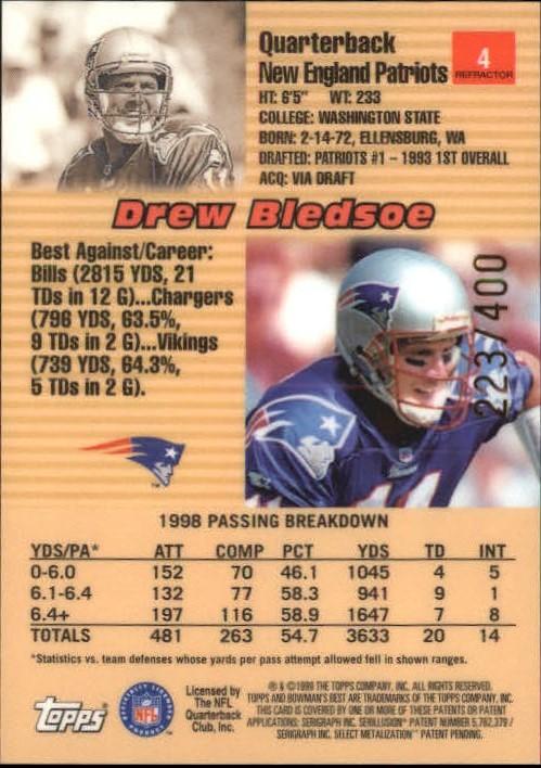 1999 Bowman's Best Refractors #4 Drew Bledsoe back image