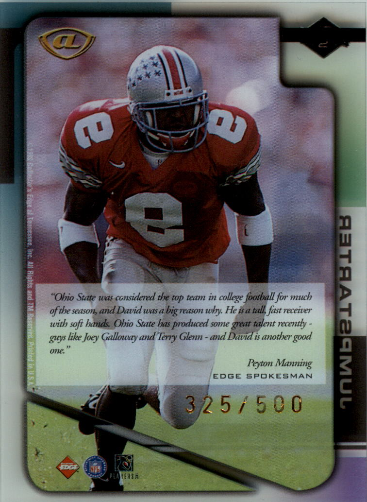 1999 Collector's Edge Advantage Jumpstarters #JS2 David Boston back image