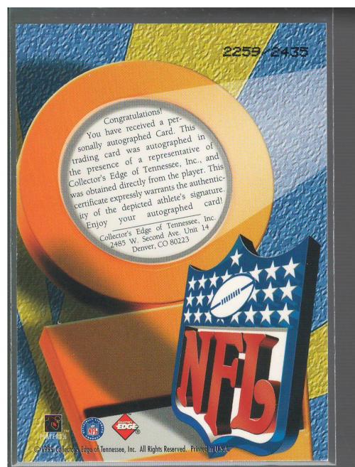 1999 Collector's Edge Odyssey Pro Signature Authentics #15 Darnell McDonald/2435 back image