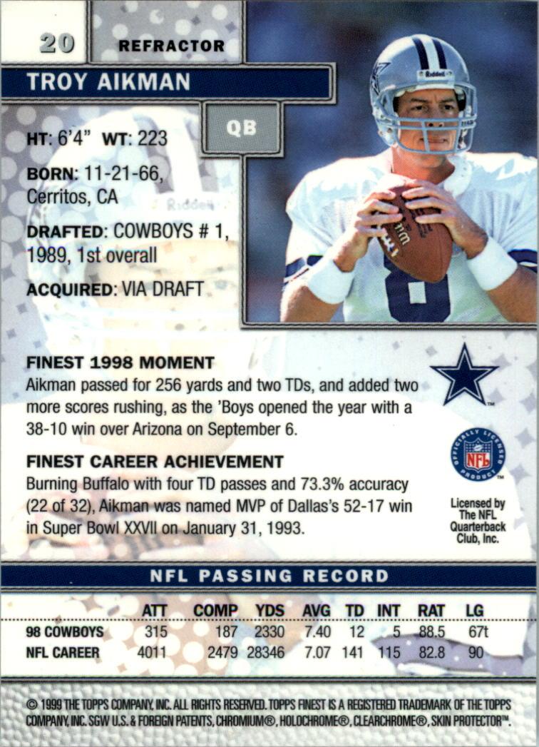 1999 Finest Refractors #20 Troy Aikman back image