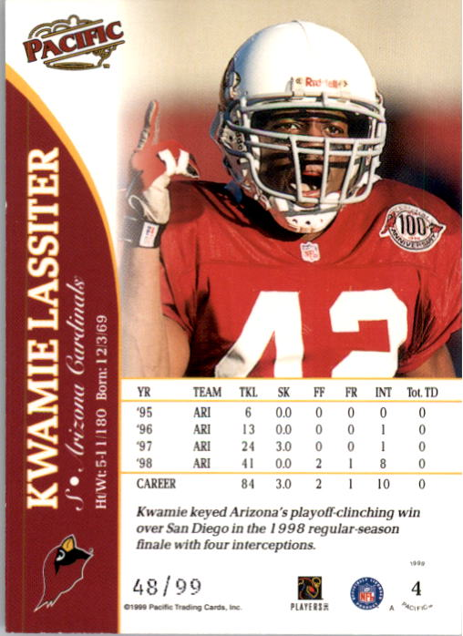 1999 Pacific Copper #4 Kwamie Lassiter back image