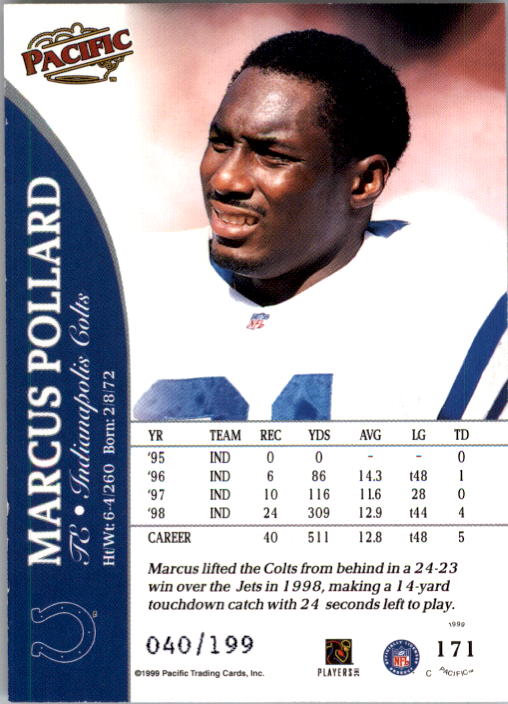 1999 Pacific Gold #171 Marcus Pollard back image