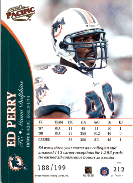 1999 Pacific Gold #212 Ed Perry back image