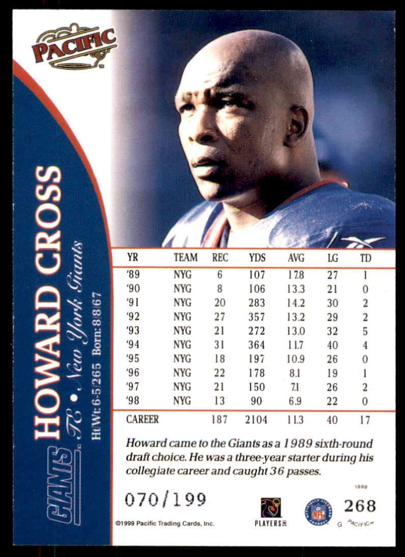 1999 Pacific Gold #268 Howard Cross back image