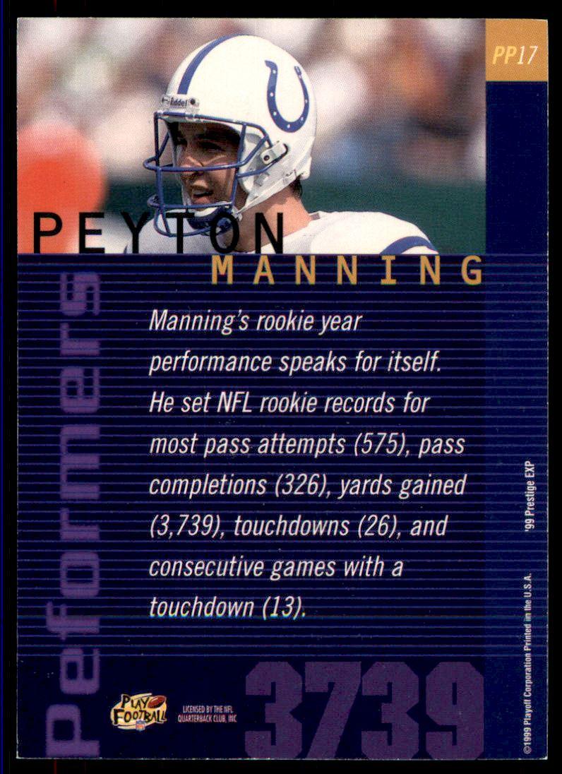 1999 Playoff Prestige EXP Performers #PP17 Peyton Manning back image