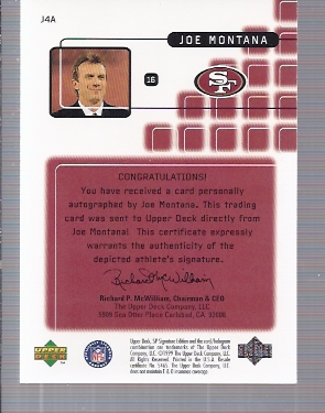 1999 SP Signature Montana Signature Performances #J4A Joe Montana back image