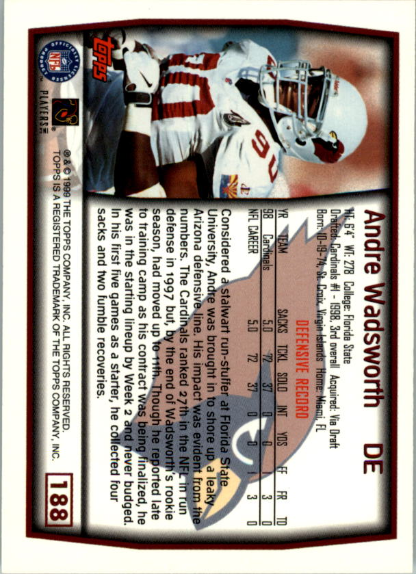 1999 Topps #188 Andre Wadsworth back image