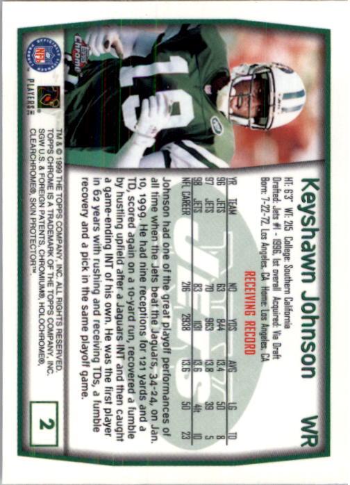 1999 Topps Chrome #2 Keyshawn Johnson back image
