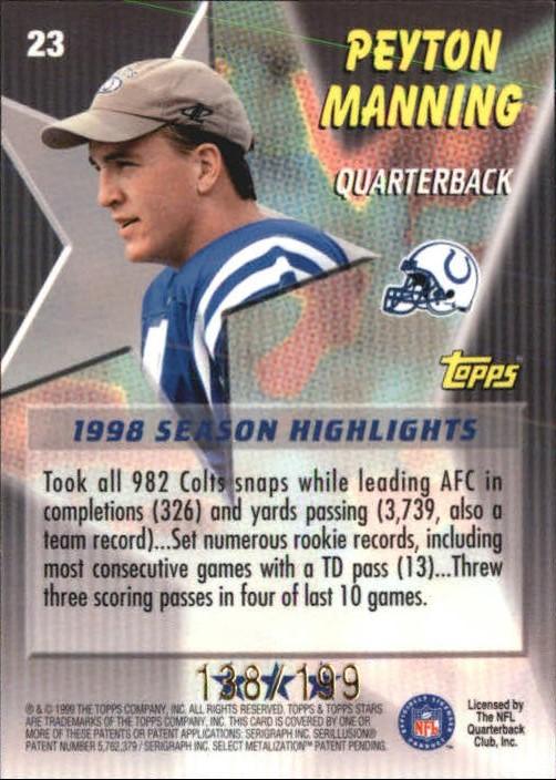 1999 Topps Stars Three Star Parallel #23 Peyton Manning back image