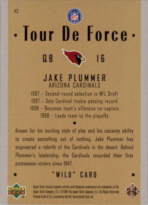 1999 Upper Deck Century Legends Tour de Force #A5 Jake Plummer back image