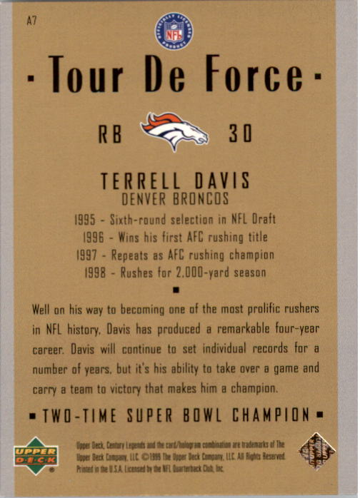 1999 Upper Deck Century Legends Tour de Force #A7 Terrell Davis back image