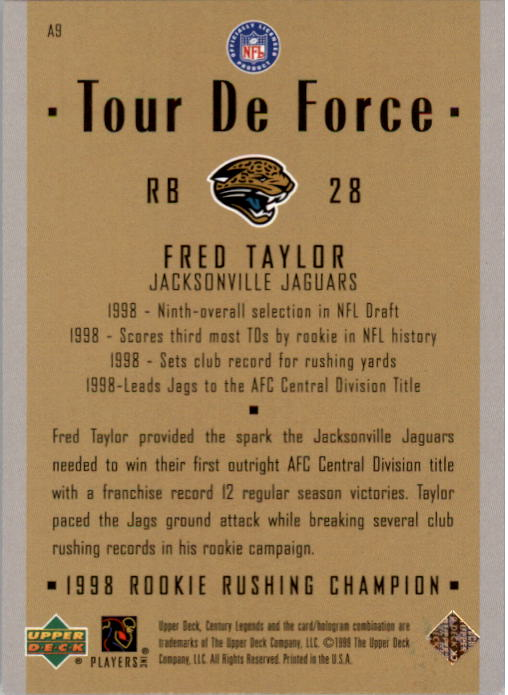 1999 Upper Deck Century Legends Tour de Force #A9 Fred Taylor back image