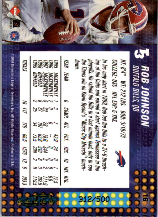 2000 Collector's Edge T3 HoloPlatinum #16 Rob Johnson back image
