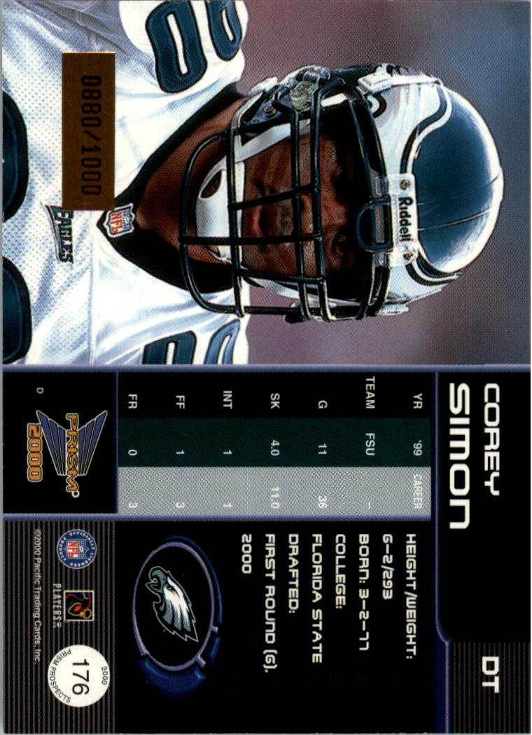 2000 Pacific Prism Prospects #176 Corey Simon RC back image