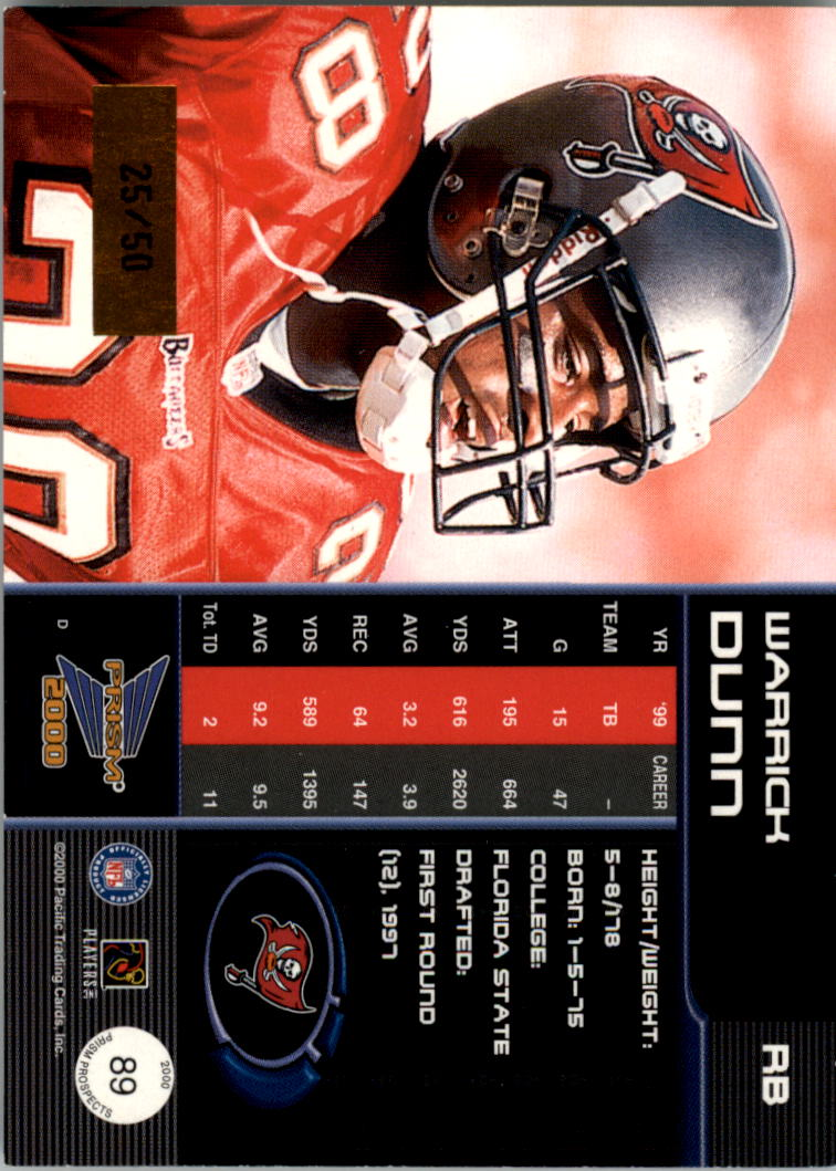 2000 Pacific Prism Prospects Holographic Gold #89 Warrick Dunn back image