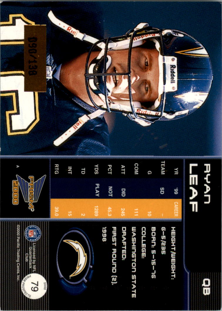 2000 Pacific Prism Prospects Premiere Date #79 Ryan Leaf back image