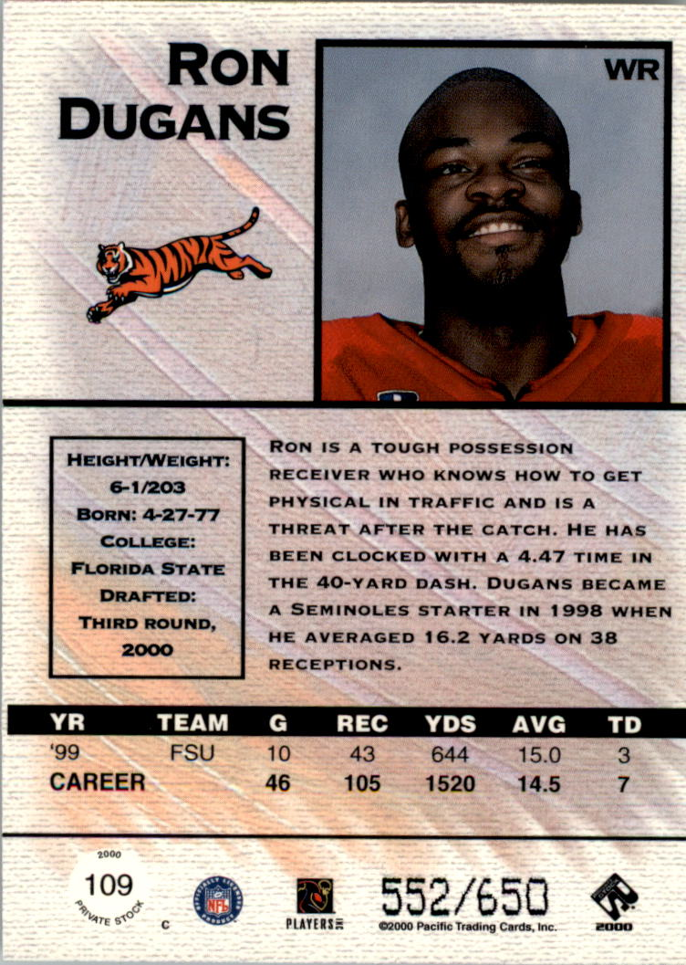 2000 Private Stock Retail #109 Ron Dugans RC back image