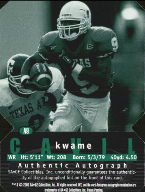 2000 SAGE HIT Autographs Diamond Die Cuts #9 Kwame Cavil back image
