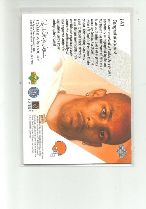 2000 SPx #141 Dennis Northcutt JSY AU RC back image