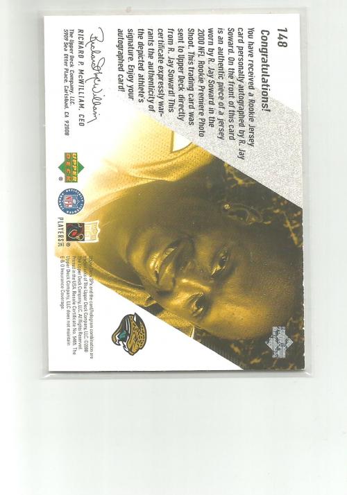 2000 SPx #148 R.Jay Soward JSY AU RC back image