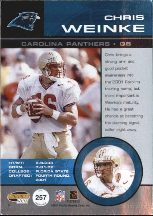 2001 Pacific Invincible #257 Chris Weinke JSY/250 RC back image