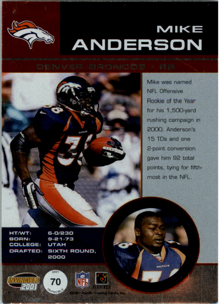 2001 Pacific Invincible Blue #70 Mike Anderson JSY back image