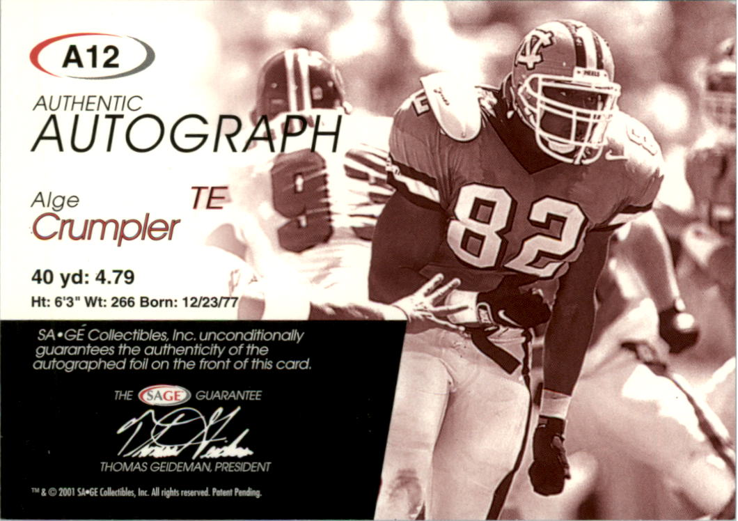 2001 SAGE Autographs Gold #A12 Alge Crumpler back image