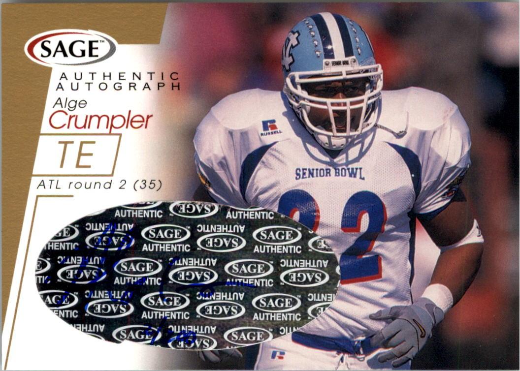 2001 SAGE Autographs Gold #A12 Alge Crumpler
