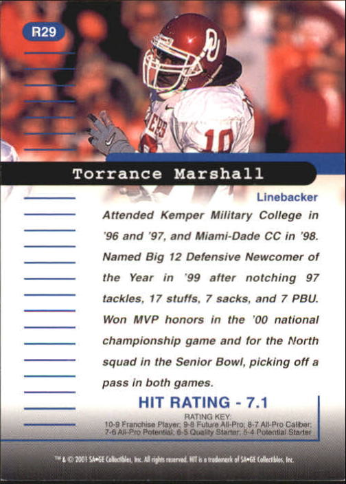 2001 SAGE HIT Rarefied #R29 Torrance Marshall back image