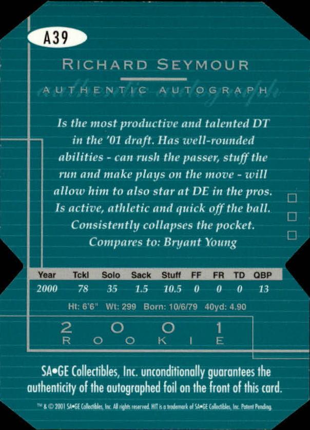 2001 SAGE HIT Autographs Die Cuts #A39 Richard Seymour back image