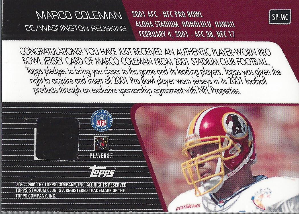 2001 Stadium Club Pro Bowl Jerseys #SPMC Marco Coleman Jersey - NM ...