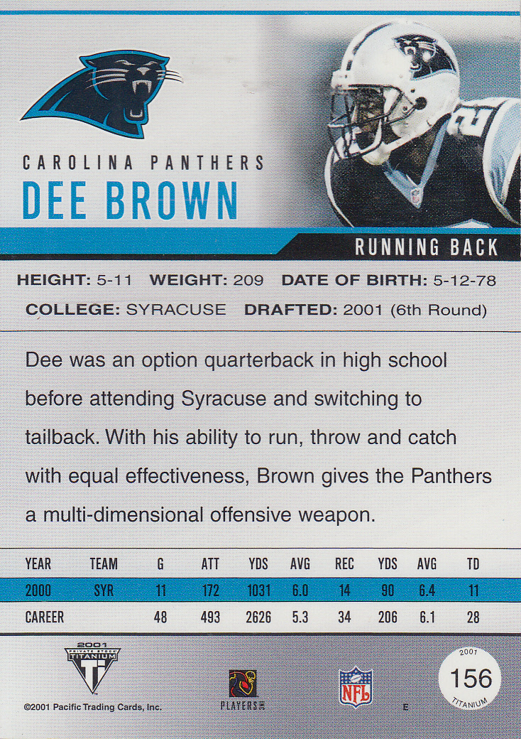 2001 Titanium #156 Dee Brown JSY RC back image