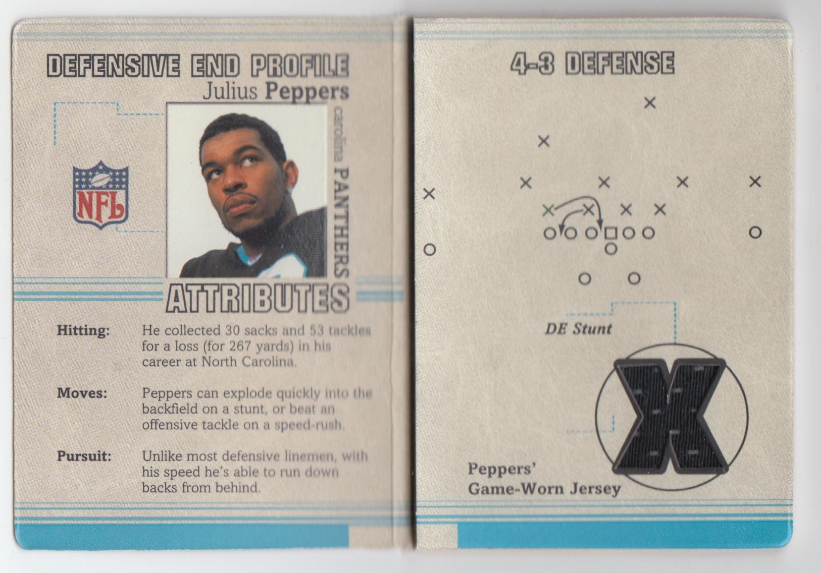 2002 Fleer Platinum Inside the Playbook Jerseys #15 Julius Peppers
