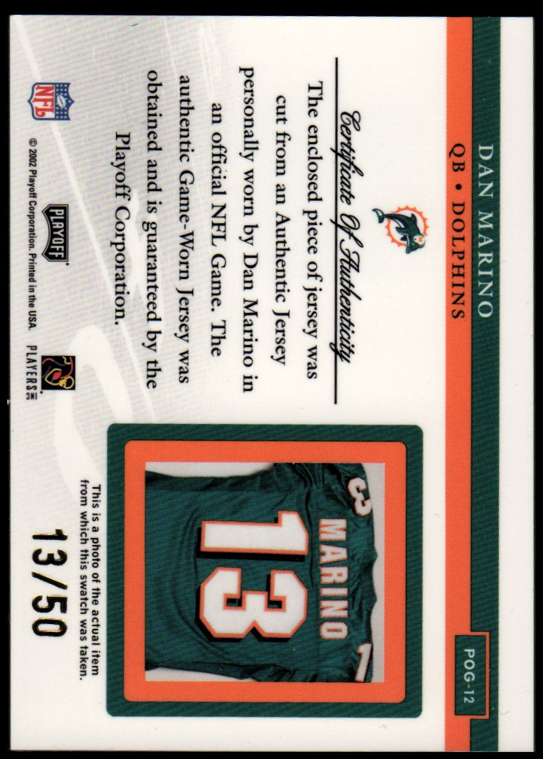 2002 Playoff Piece of the Game Materials 3rd Down #12 Dan Marino back image