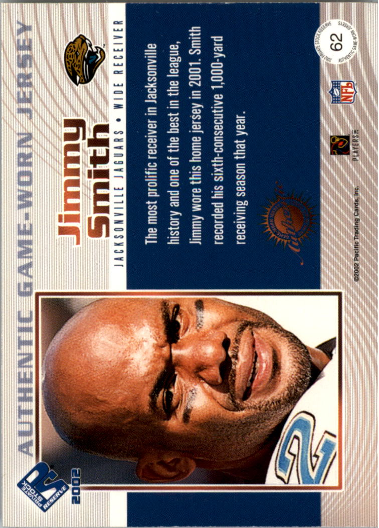 2002 Private Stock Game Worn Jerseys Logos #62 Jimmy Smith/164 back image