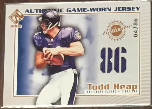 2002 Private Stock Game Worn Jerseys Numbers #10 Todd Heap/86
