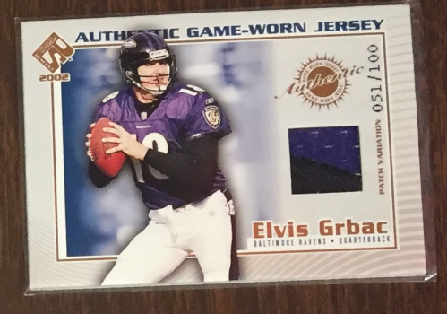 2002 Private Stock Game Worn Jerseys Patches #13 Elvis Grbac/100