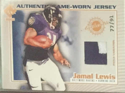 2002 Private Stock Game Worn Jerseys Patches #14 Jamal Lewis/91