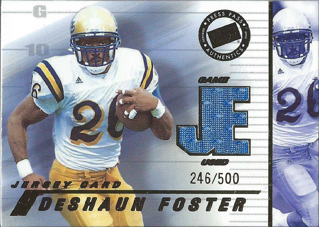 2002 Press Pass JE Game Used Jerseys #JEDF DeShaun Foster