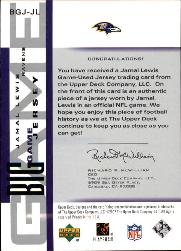 2002 UD Piece of History The Big Game Jerseys #BGJJL Jamal Lewis SP back image