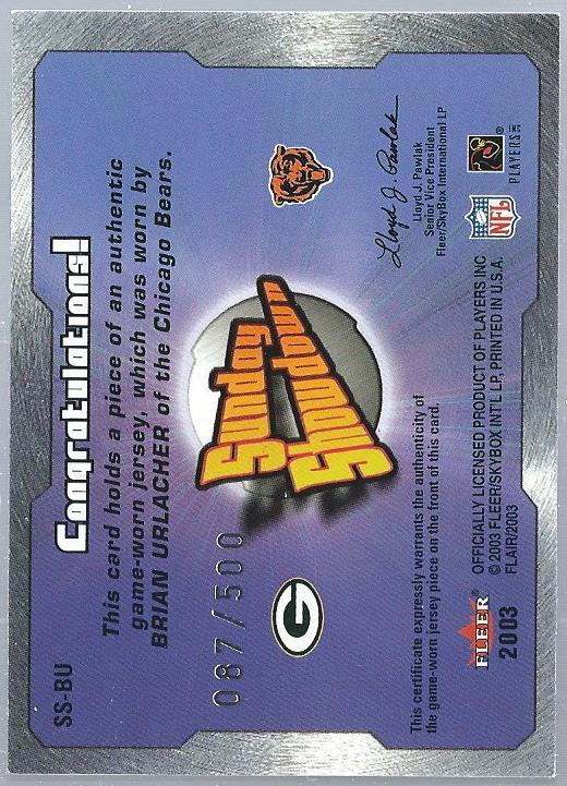 2003 Flair Sunday Showdown Jerseys #SSBU Ahman Green/Brian Urlacher JSY back image