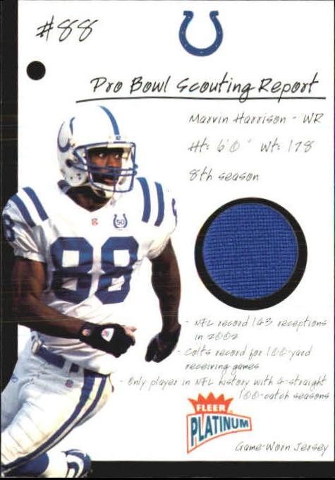 2003 Fleer Platinum Pro Bowl Scouting Report Jerseys  PBSRMH Marvin Harrison 47616e19b