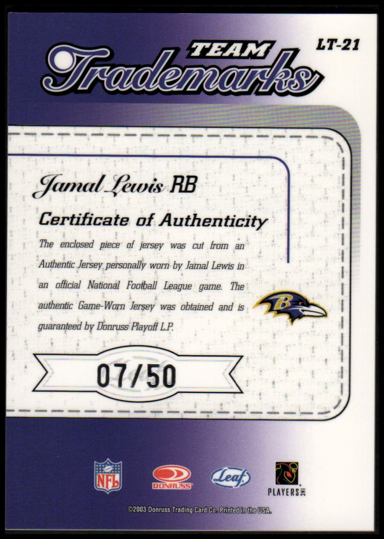 2003 Leaf Limited Team Trademarks Autographs #LT21 Jamal Lewis back image